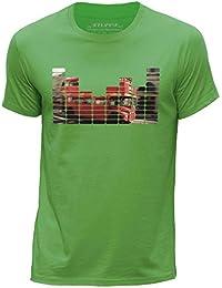 STUFF4 Men's X Small (XS) Green Round Neck T-Shirt/Equalizer/London Bus