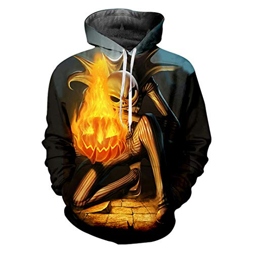Mode Maske Mann Hoodies 3D Flamme Kürbis Lustige Herren Pullover Horror Halloween Übergroßen 5XL Flame Pumpkin ()