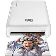 Kodak Foto-Drucker Mini 2HD, Kabellos und Mobil, mit patentierter Drucktechnologie 4Pass–Kompatibel mit iOS und Android–Weiß