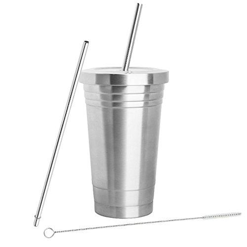 inspiré Home Living Gobelet en acier inoxydable (453,6gram) avec 2pailles, brosse de nettoyage et double couche d'isolation-Gobelet de voyage Idéal pour boissons chaudes et froides