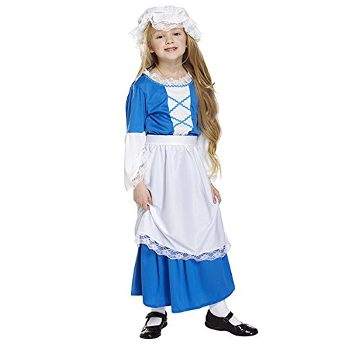 pams tudor girl's fancy dress costume party dress decoration fits age 7-9 years