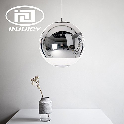 INJUICY Tom Dixon Moderne Led Edison Ballon Or Electroplate Lampe Suspensions Lustres Plafonniers en Verre Abat-jour Eclairage de Plafond pour Cuisine Salle à manger Salon Chambre (Diamètre 250 mm)
