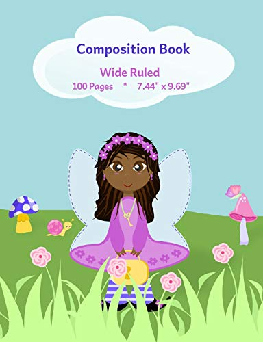Composition Book: Cute Fairy Design, Wide Ruled School Notebook, 100 pages, 7.44