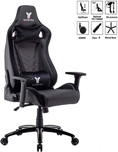 Techfection Gaming Stuhl Qualitativ hochwertiger Gamingstuhl/Bürostuhl/Computerstuhl EinstellbareErgonomischer Design mit 3D Armlehne, Robuste Metalrahmen & Base Racing Stuhl(Schwarz)