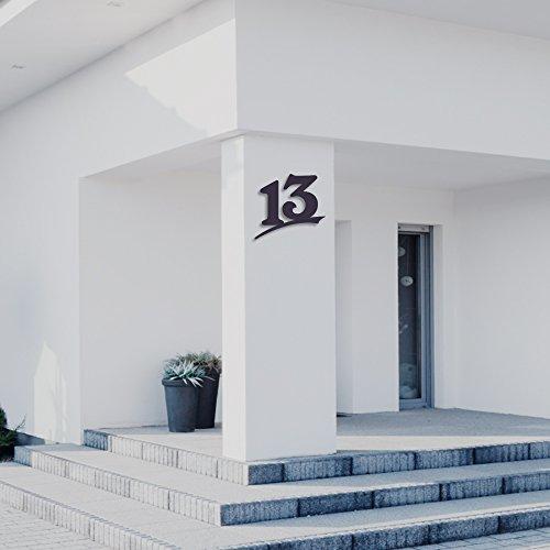 Hausnummer 13 ( 20cm Ziffernhöhe ) in Anthrazit-grau, schwarz oder weiß, 6mm stark aus Acrylglas - Original ALEZZIO Design - Rostfrei, UV-beständig und abwaschbar, Anthrazit wie Pulverbeschichtet RAL 7016, mit Montageschablone