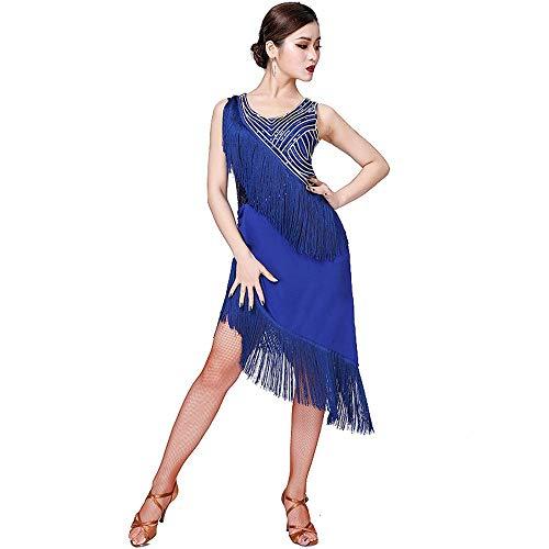 WyaengHai Bauchtanz Kleid Kleid ärmellos asymmetrisch Pailletten Suzumba Samba Tango Ballroom Performance Wettbewerb Tanzkostüm Damentanzkostüm (Farbe : Blau, Größe : - Kostüm Der Klassischen Indischen Tänze