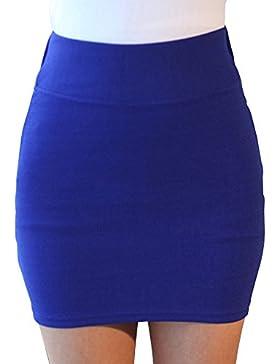 SaiDeng Mujer Elegante Elástico Color Puro Cintura Alta Mini Falda Lápiz Azul