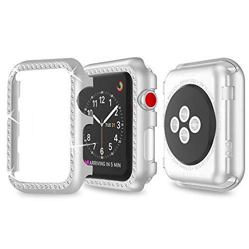 Für Apple Watch 42mm Schutzhülle,Apple Watch Series 2 Hülle 42mm Bildschirmschutz Apple Watch Case Strass Damen Fashion iWatch Schutzhülle Full R&herum Schutz Case für Apple Watch Series 3/2/1 Silber