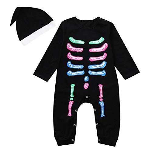 POTTOA Neugeborenes Kleinkind Baby Lange Hülsen Halloween Knochen Druckten Einteiliges Hoodie Spielanzug Overall + Hut Halloween Kostüm Ausstattungs Satz