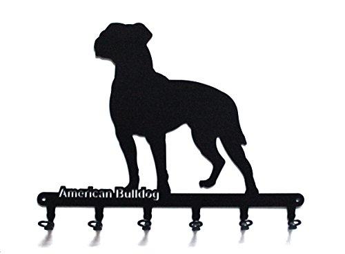 steelprint.de Schlüsselbrett/Hakenleiste * American Bulldog * - Hunde Schlüsselboard - 6 Haken -