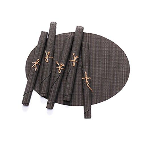 Brown Ovalen Esstisch (Nikgic Tischset Desktop-Isolierunterlage Umweltschutz PVC Bambuskörner Oval Faltbar Leicht zu Reinigen Esstisch Dekoration (Brown))