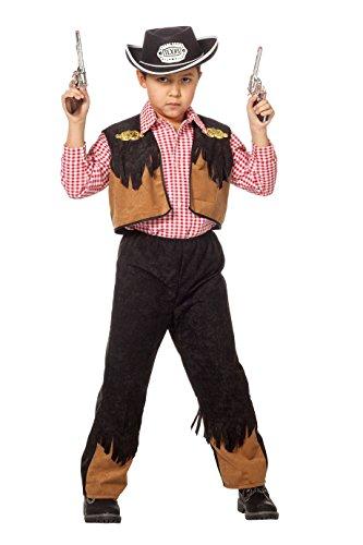 Cowboy-Kostüm Kinder Jungen Oberteil Weste mit Fransen und Hose mit Gummizug braun schwarz KinderkostümWilder Westen Karneval Fasching Hochwertige Verkleidung Größe 164 - Hochwertige Kinder Kostüm
