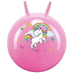 Einhorn SPRUNGBALL HÜPFBALL 50 CM pink Unicorn   Der perfekte Sprungball für Mädchen. Mit dem Einhorn herumtollen und hüpfen. Der Sprungball ist ideal für Beginner ab 3 Jahren  aus festem Kunststoffmaterial, im pinken Einhorn Design   Ideal ...