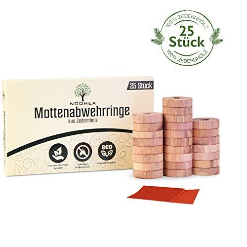 NOOHEA Natürlicher Bio Mottenschutz aus Zedernholz [25 Stück] - effektive Mottenabwehr für Kleiderschrank - chemiefrei & biologisch abbaubar - Wiederverwendbare Mottenfalle - Familie, Gesundheit, Lebensmittel
