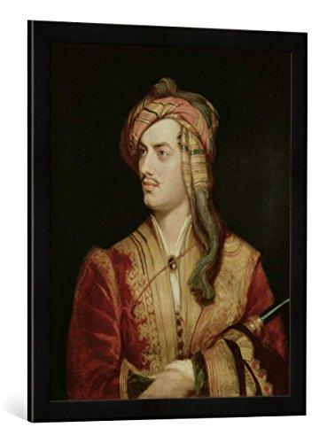 """Gerahmtes Bild von Thomas Phillips """"Portrait of George Gordon (1788-1824) 6th Baron Byron of Rochdale in Albanian Dress, 1813"""", Kunstdruck im hochwertigen handgefertigten Bilder-Rahmen, 50x70 cm, Schwarz matt"""