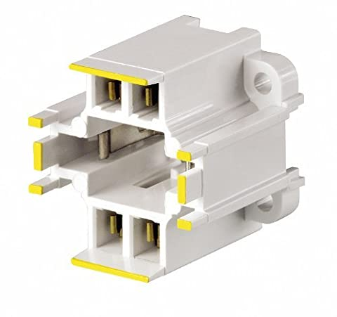 Leviton 26725-414 GX24q-4 Base, 42W 4-Pin, 10mm Compact Fluorescent Lampholder, Vertical, Bottom Screw-Down, Yellow Color Code, Quick-Connect 18AWG , White by Leviton