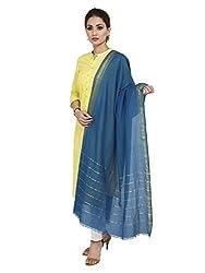 Shingora Turquoise Zari Striped Dupatta For Women
