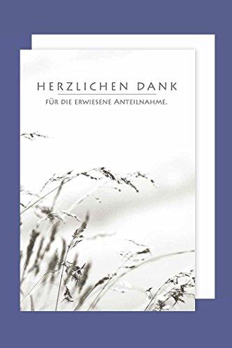 AvanCarte GmbH Trauer Danksagung 5er Mehrstückpackung Danke Gräser 5 Karten 15x11cm