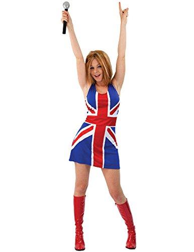 Britische Flagge Union Jack Kleid Karneval Verkleidung Kostüm Damen (Flagge Kleider Britische)