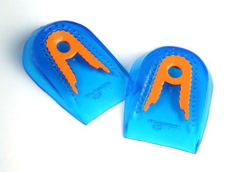 Ironman Spenco Komfort Gel Fersenkissen Fersenschale Sport-Gelkissen mit seperater Dämpfungszone zur Absorbierung von Schockwellen auf die Ferse Damen Herren ,Mehrfarbig (Blau/Orange), Large