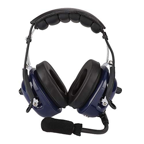 ASHATA Aviation Headset,GA-Doppelstecker Luftfahrt Headset Pilotkopfhörer 24 dB Geräuschunterdrückung,Tragbar Universal 3,5mm Klinken Audio-Lautsprecher Headset für Piloten - Universal Pilot