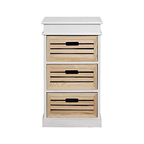 Rebecca srl comodino mobile bagno 3 cassetti legno naturale bianco rustico country camera cucina bagno (cod. re4216)
