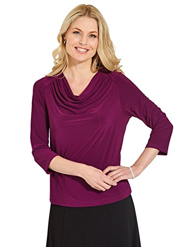 Mesdames Amber Cowl Cou 3/4 Sleeve Jersey Smart Top Violet