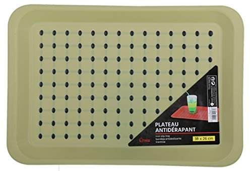 Grand rectangle plastique antidérapant Table plateau de service Restaurant plateaux 38 x 26 cm Green