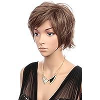 Prettyland C1747 - parrucca capelli corti taglio scalato sfilato spettinato  castano chiaro con colpi di sole 3100beb3c5de