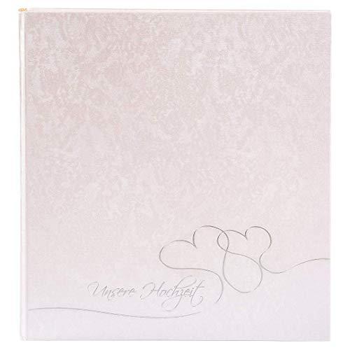 Goldbuch Hochzeitsalbum, Cuore, 30 x 31 cm, 60 weiße Seiten mit Pergamin-Trennblättern, Beschichtetes Papier mit Silberprägung, Perlmutt, 08004