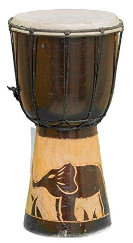 Kascha - 30cm Djembe Trommel Bongo Drum Buschtrommel Afrika-Style handgeschnitzt aus Mahagoni Holz Elefant 4