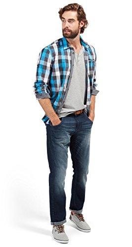 TOM TAILOR Herren T-Shirt Serafino with Left Chest Print middle grey melange