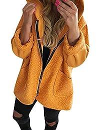 1e318068715 Lazzboy Womens Coat Parka Woolen Lambswool Patchwork Warm Dual Pockets  Zipper Loose Plain Hooded Outerwear Oversized