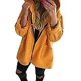 TianWlio Jacken Parka Mäntel Herbst Winter Warme Jacken Strickjacken Damen Langärmeliger Reißverschluss Pullover mit Kapuze Hemden Mantel Sweatshirt Gelb XXL