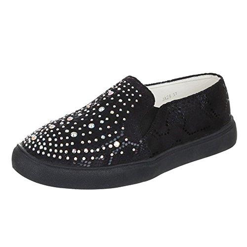 Sneakers Ital-design Basse Sneakers Da Donna Basse Scarpe Casual Con Borchie Borchiate Nere