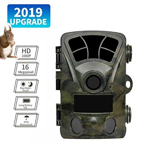 DZENJ Jagdkamera, 16MP 1080P 2,4-Zoll-LCD-Farbbildschirm HD Wasserdichte Nachtsichtjagdkamera für Wildtierüberwachung Jagdfamiliensicherheit