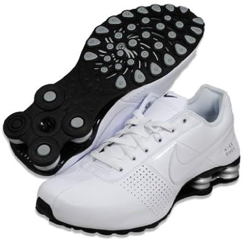 Uomo Shox Deliver Bianco / Argento White / Metallic / scarpe da corsa di cuoio neri 9 M Us