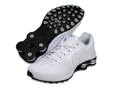 Hommes Shox Deliver blanc / blanc / Metallic Silver / Black Leather Chaussures de course 9 M US