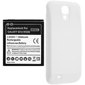 Avizar - Batterie Compatible Haute Capacité 5800mAh + Cache pour Samsung Galaxy S4 I9500 et I9505 - Blanc