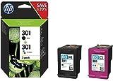 HP 301 Pack of 2 Cartridges - 1 Black Ink and 1 of Three Colors (Genuine Cyan, Magenta, Yellow) (N9J72AE)