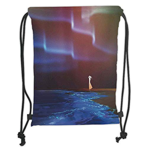 5a603e835674 ZKHTO Drawstring Sack Backpacks Bags,Fantasy Art House Decor,Woman on Beach  Psychedelic Northern Lights Sky Star Picture Print,Blue Purple Soft ...
