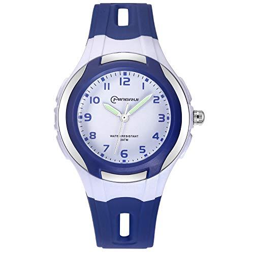 Kinder Analoge Uhren,Jungen Mädchen Armbanduhr Wasserdichte Leicht zu Lesen Zeit Weicher Riemen Armbanduhren Geschenk für Kinder (Navy blau) - Kinder Armbanduhr