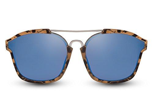 Cheapass Sonnenbrille Groß Braun Blau Verspiegelt UV-400 Oversized XXL Designer-Brille Metall Plastik Damen Frauen