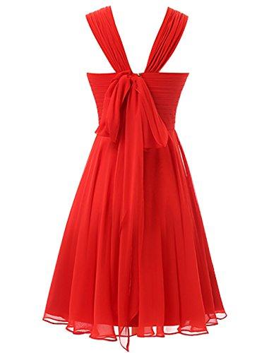 Find Dress Elégant Robe Demoiselle d'Honneur Mariage Femme Plissé Robe pour Soirée/Cocktail/Cérémonie Courte à la Mode sans Manches en Mousseline Souple Bleu