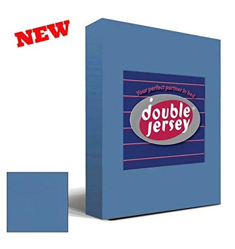 Double Jersey - Spannbettlaken 100% Baumwolle Jersey-Stretch bettlaken, Ultra Weich und Bügelfrei mit bis zu 30cm Stehghöhe, 160x200x30 Jeans Blau - 2