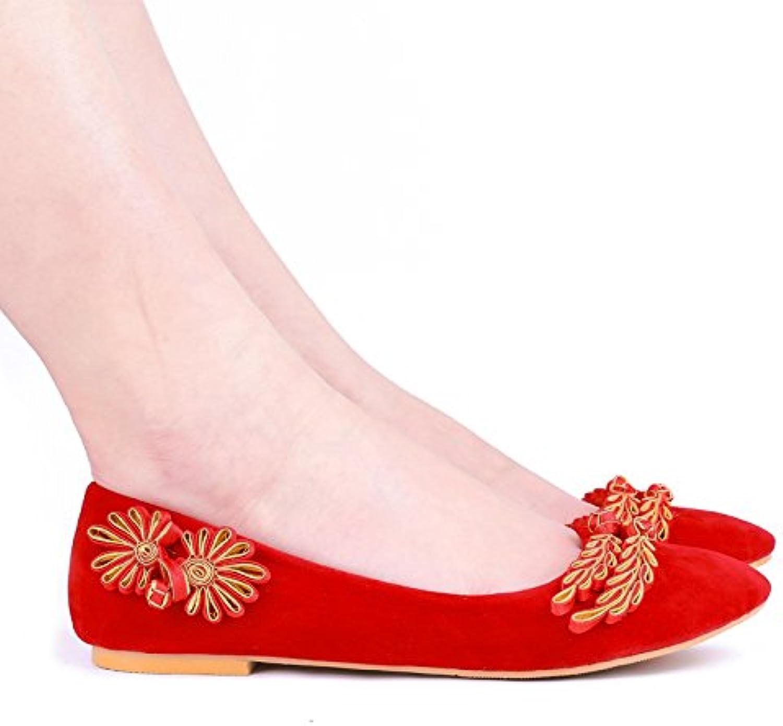 JINGXINSTORE Donne matrimonio scarpe retrò rosso scarpe da sposa sposa sposa reticolo con le scarpe di raso, piatto, UK 3.5 | Qualità  7e9530