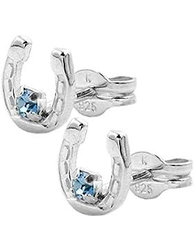 Unbespielt Ohrstecker Hufeisen mit Glasstein blau 925 Silber 6 mm Durchmesser inklusive Schmuckbox Ohrschmuck...