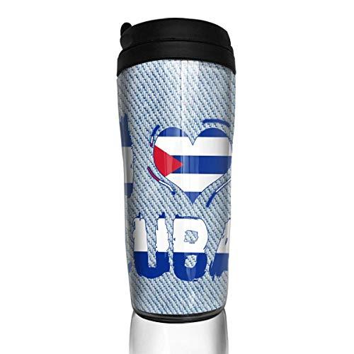 Bgejkos Ich Liebe Herz-Kuba-Mode Isolierreisender-Kaffeetasse-Becher-Edelstahl-Kaffeetasse 12 Unze