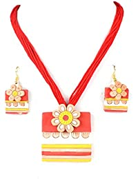 Terracotta Jewellery Sets By Nisuj Fashion Red & Yellow Traditional Sets Latest Design Low Price