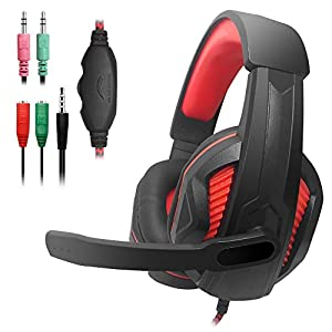 yucool Gaming Headset, 3,5 mm Wired Bass Stereo Geräuschisolierung Gaming Kopfhörer Mikrofon Laptop, Handy, PS4 SO on-Volume Control (schwarz rot)